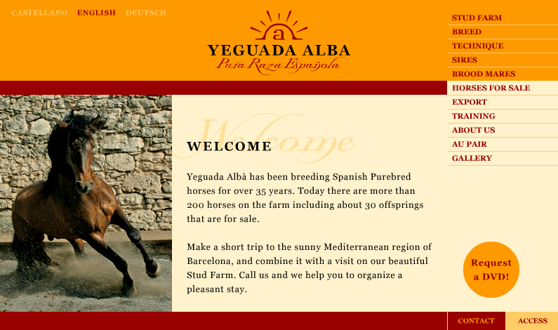 Website design for Yeguada Alba